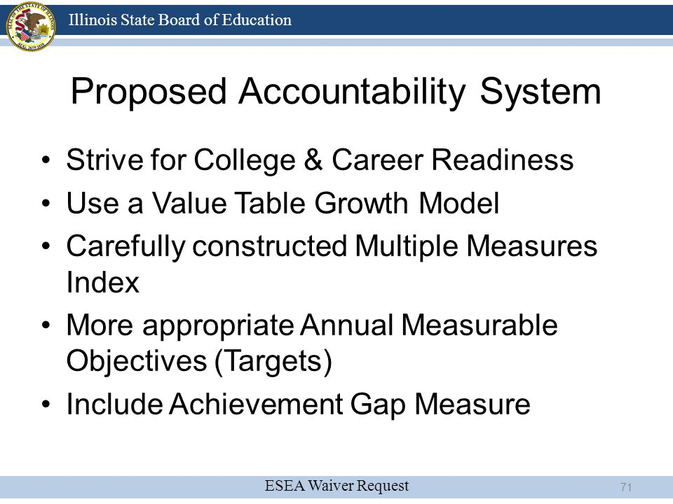 ESEA Waiver Request Illinois State Board of Education Proposed Accountability System Strive for College & Career Readiness Use a Value Table Growth Mo