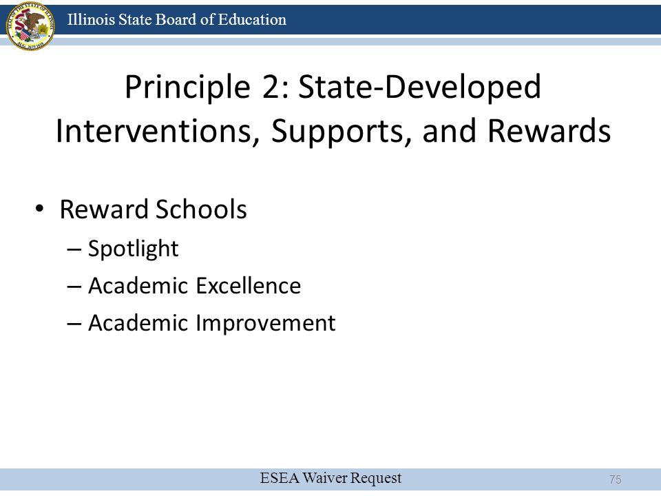 ESEA Waiver Request Illinois State Board of Education Principle 2: State-Developed Interventions, Supports, and Rewards Reward Schools – Spotlight – A