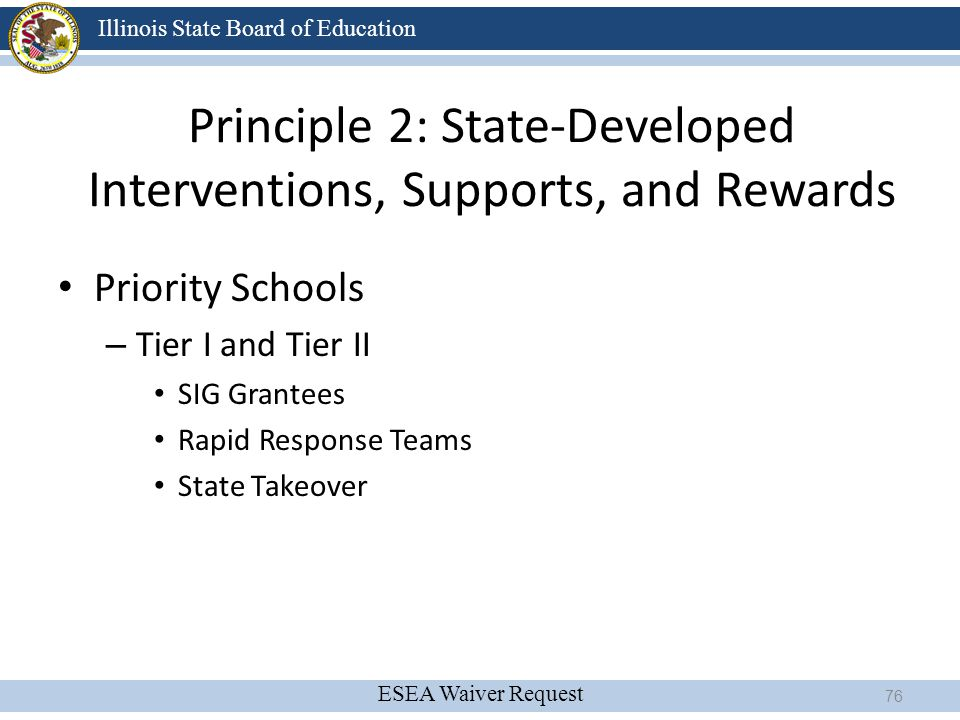 ESEA Waiver Request Illinois State Board of Education Principle 2: State-Developed Interventions, Supports, and Rewards Priority Schools – Tier I and