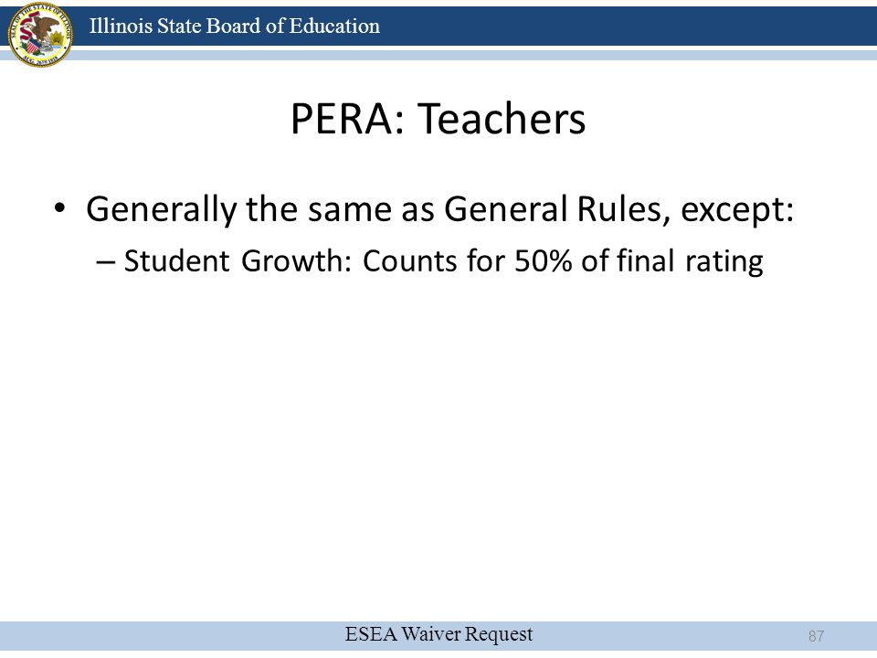 ESEA Waiver Request Illinois State Board of Education PERA: Teachers Generally the same as General Rules, except: – Student Growth: Counts for 50% of