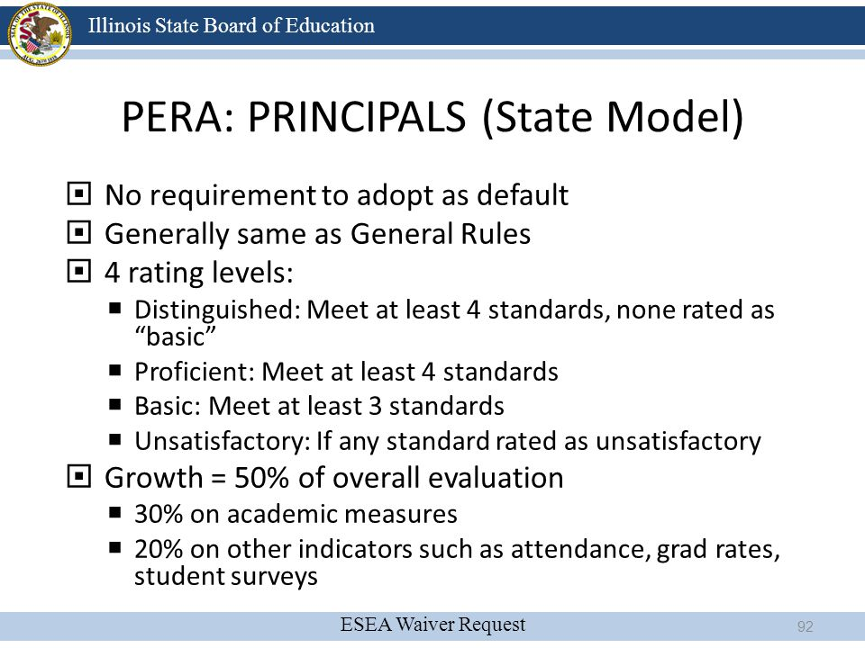 ESEA Waiver Request Illinois State Board of Education PERA: PRINCIPALS (State Model)  No requirement to adopt as default  Generally same as General