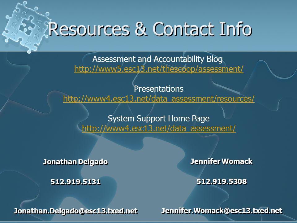 Resources & Contact Info Jennifer Womack 512.919.5308 Jennifer.Womack@esc13.txed.net Jennifer Womack 512.919.5308 Jennifer.Womack@esc13.txed.net Jonathan Delgado 512.919.5131 Jonathan.Delgado@esc13.txed.net Jonathan Delgado 512.919.5131 Jonathan.Delgado@esc13.txed.net Assessment and Accountability Blog http://www5.esc13.net/thescoop/assessment/ Presentations http://www4.esc13.net/data_assessment/resources/ System Support Home Page http://www4.esc13.net/data_assessment/