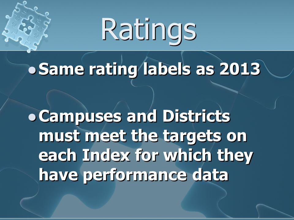 Ratings Same rating labels as 2013 Campuses and Districts must meet the targets on each Index for which they have performance data Same rating labels