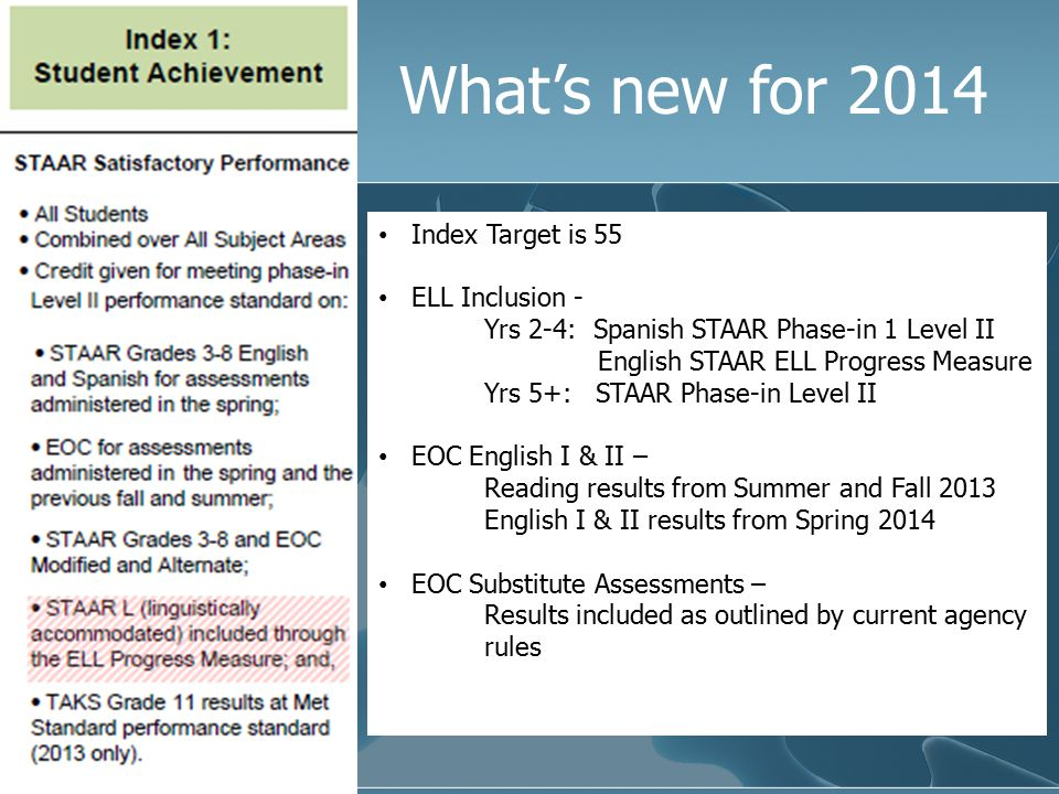 What's new for 2014 (Index Target remains at 5 th percentile) High Schools/Secondary/AEA- No evaluation for Index 2 STAAR M & STAAR Alt Results will be included ELL Inclusion - Yrs 2-4: Spanish STAAR Progress Measure English STAAR ELL Progress Measure Yrs 5+: STAAR Progress Measure