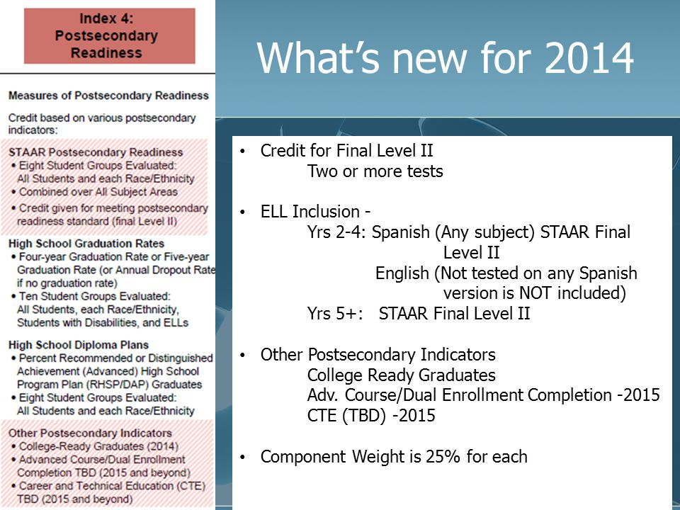 What's new for 2014 Credit for Final Level II Two or more tests ELL Inclusion - Yrs 2-4: Spanish (Any subject) STAAR Final Level II English (Not teste