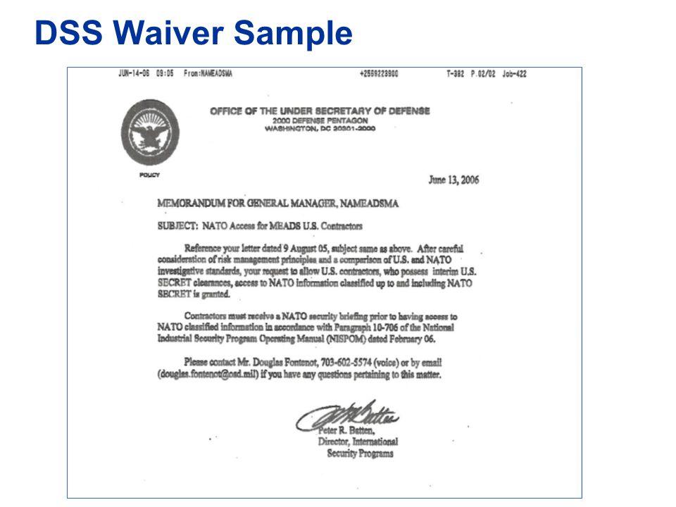 DSS Waiver Sample