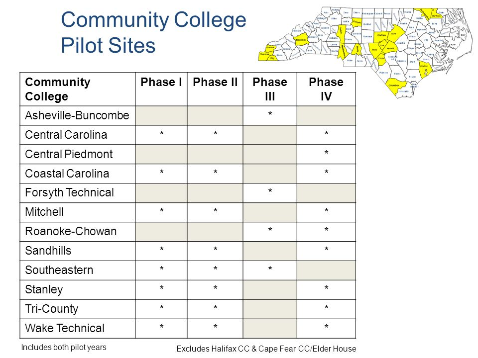 Community College Phase IPhase IIPhase III Phase IV Asheville-Buncombe * Central Carolina *** Central Piedmont * Coastal Carolina *** Forsyth Technical * Mitchell *** Roanoke-Chowan ** Sandhills *** Southeastern *** Stanley *** Tri-County *** Wake Technical *** Community College Pilot Sites Includes both pilot years Excludes Halifax CC & Cape Fear CC/Elder House