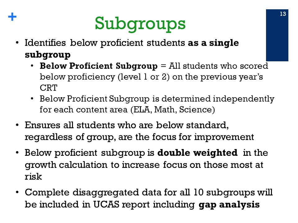 + Subgroups 13 Identifies below proficient students as a single subgroup Below Proficient Subgroup = All students who scored below proficiency (level 1 or 2) on the previous year's CRT Below Proficient Subgroup is determined independently for each content area (ELA, Math, Science) Ensures all students who are below standard, regardless of group, are the focus for improvement Below proficient subgroup is double weighted in the growth calculation to increase focus on those most at risk Complete disaggregated data for all 10 subgroups will be included in UCAS report including gap analysis