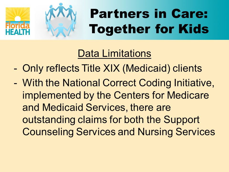 Partners in Care: Together for Kids Data Limitations -Only reflects Title XIX (Medicaid) clients -With the National Correct Coding Initiative, implemented by the Centers for Medicare and Medicaid Services, there are outstanding claims for both the Support Counseling Services and Nursing Services