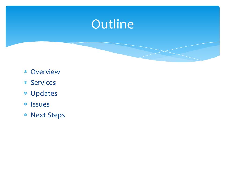  Overview  Services  Updates  Issues  Next Steps Outline