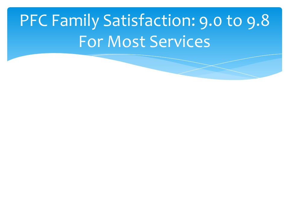 PFC Family Satisfaction: 9.0 to 9.8 For Most Services