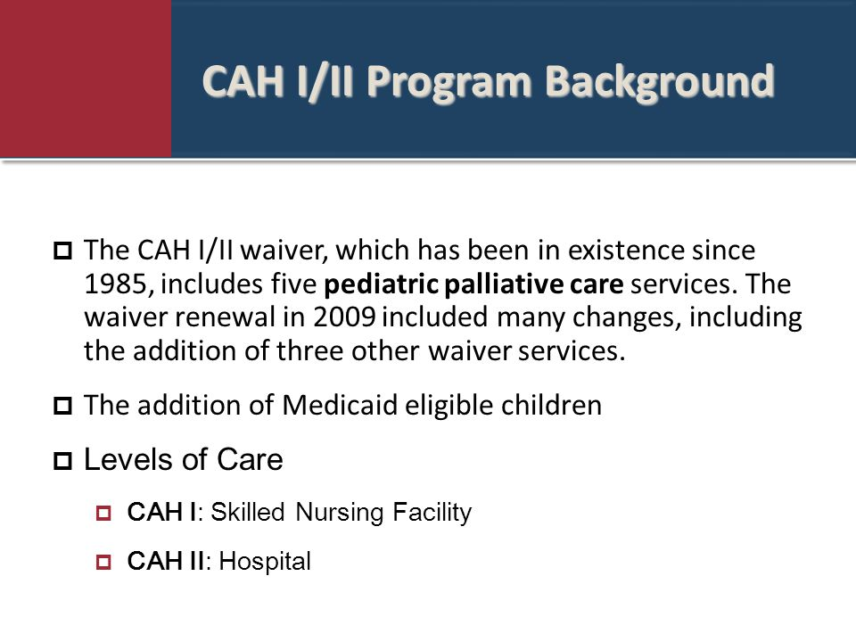 CAH I/II Program Background  The CAH I/II waiver, which has been in existence since 1985, includes five pediatric palliative care services.