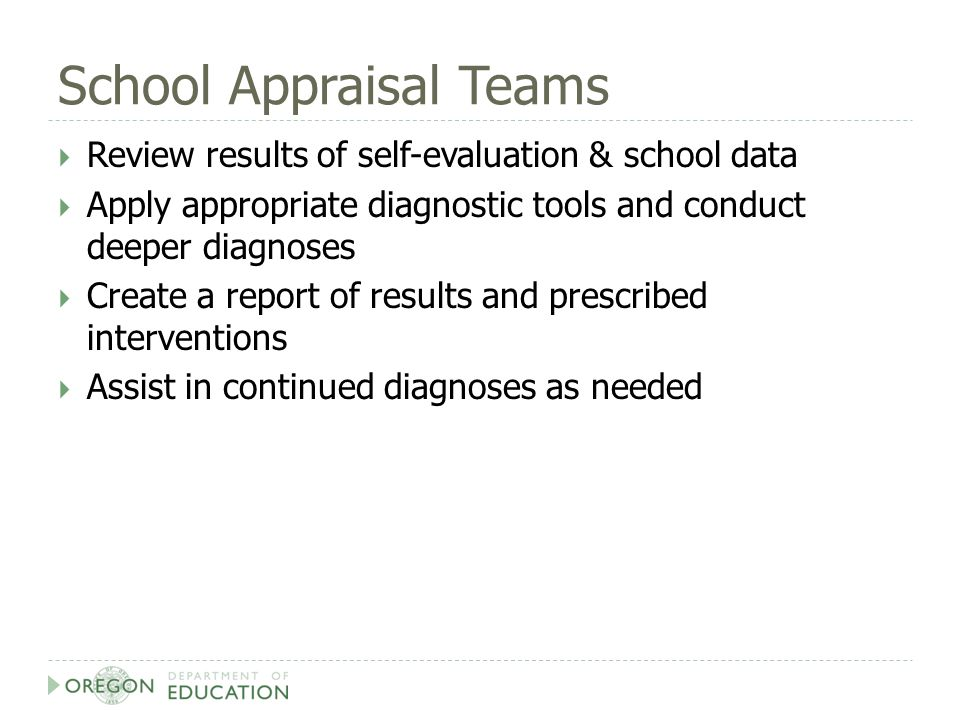 School Appraisal Teams  Review results of self-evaluation & school data  Apply appropriate diagnostic tools and conduct deeper diagnoses  Create a report of results and prescribed interventions  Assist in continued diagnoses as needed