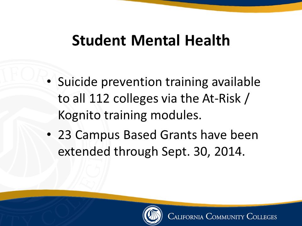 Student Mental Health Suicide prevention training available to all 112 colleges via the At-Risk / Kognito training modules.