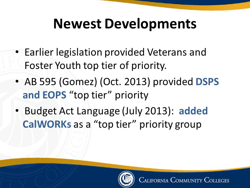 Earlier legislation provided Veterans and Foster Youth top tier of priority.