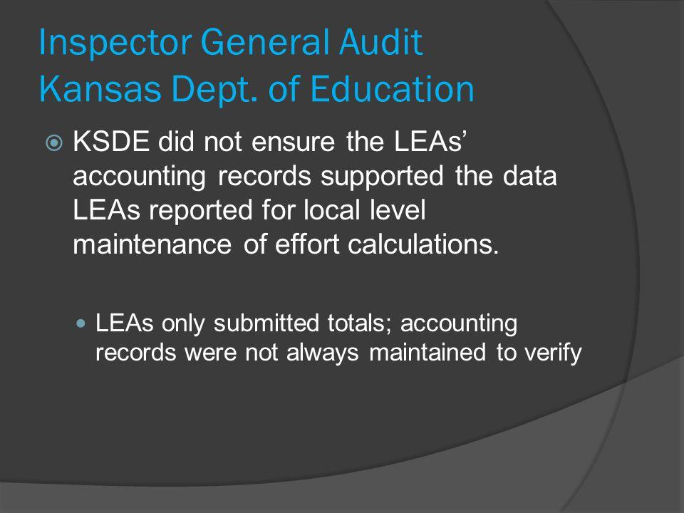 Inspector General Audit Kansas Dept.