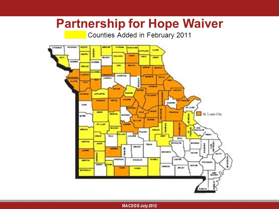 Partnership for Hope Waiver Counties Added in February 2011