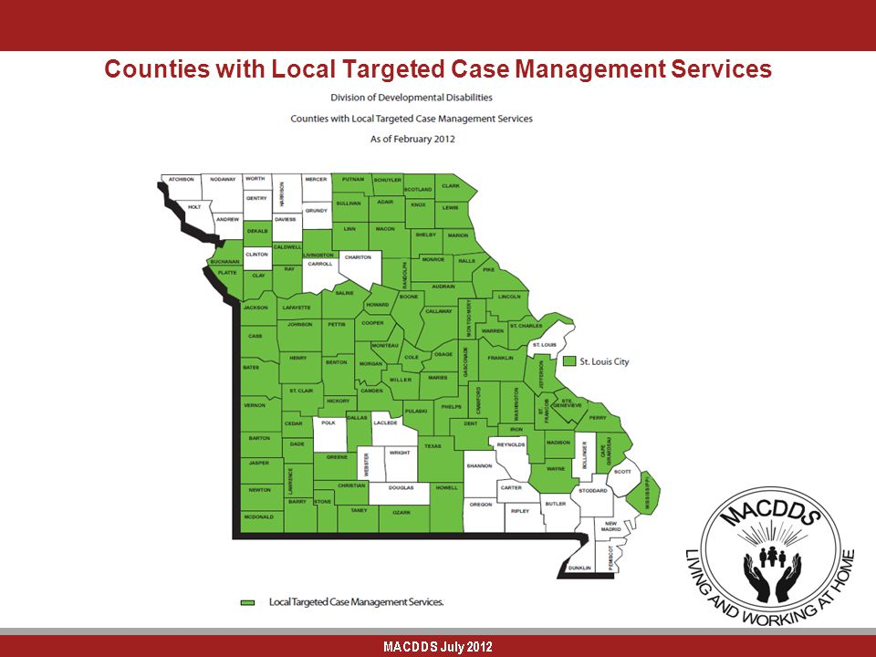 Counties with Local Targeted Case Management Services