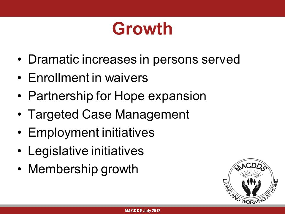 Growth Dramatic increases in persons served Enrollment in waivers Partnership for Hope expansion Targeted Case Management Employment initiatives Legislative initiatives Membership growth