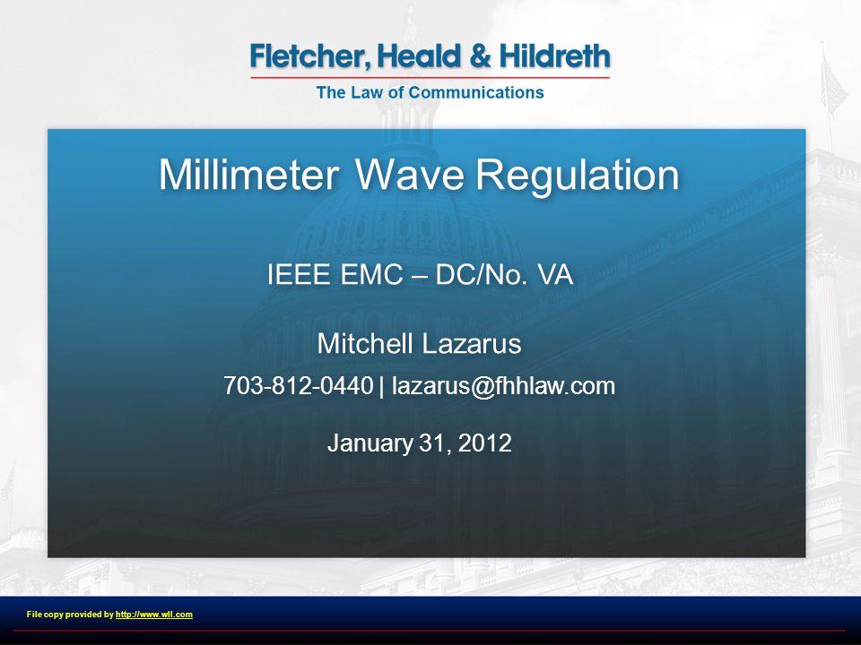 Millimeter Wave Regulation IEEE EMC – DC/No.