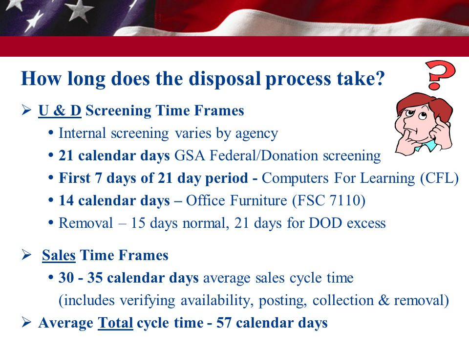  U & D Screening Time Frames  Internal screening varies by agency  21 calendar days GSA Federal/Donation screening  First 7 days of 21 day period