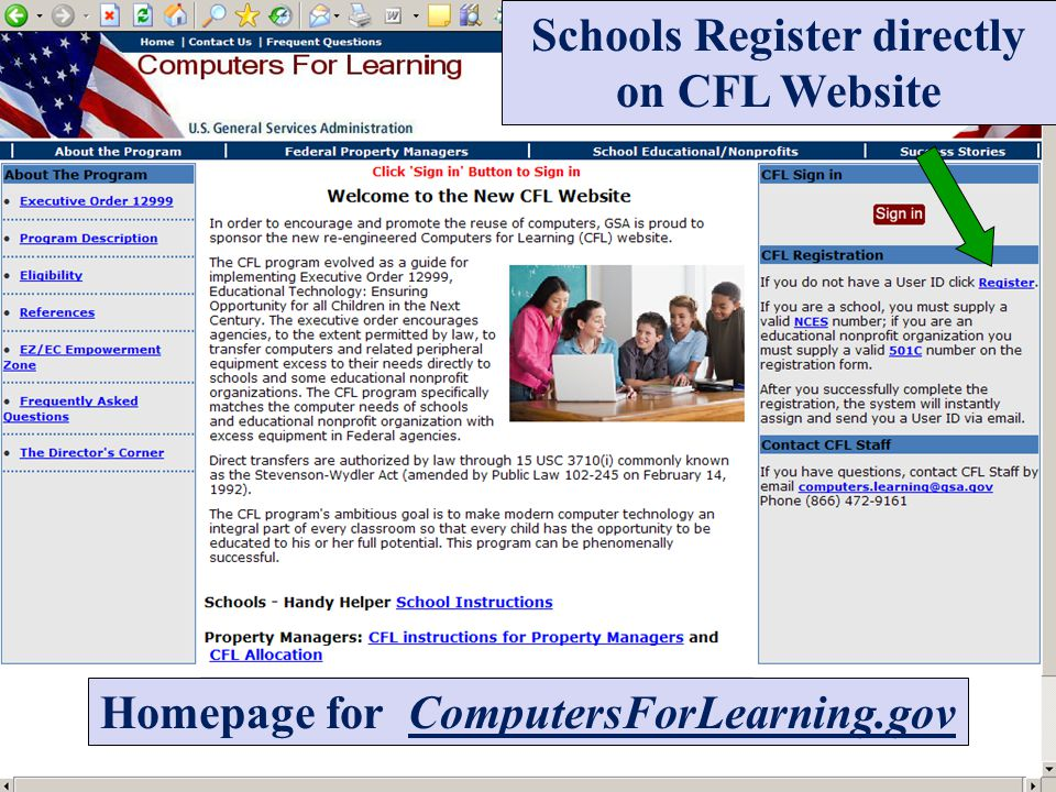 Schools Register directly on CFL Website Homepage for ComputersForLearning.gov
