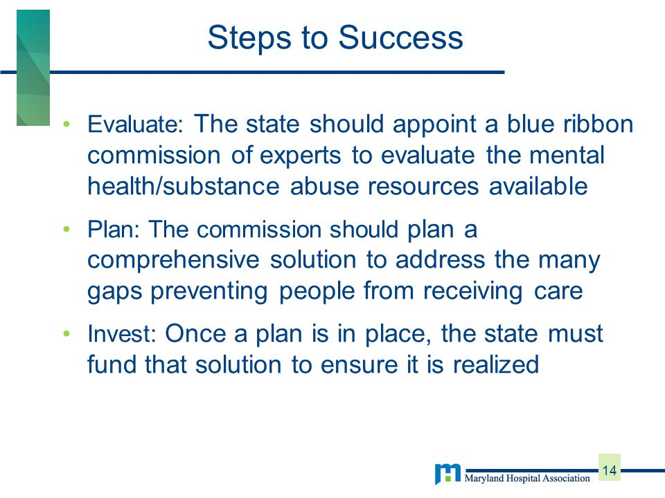 Evaluate: The state should appoint a blue ribbon commission of experts to evaluate the mental health/substance abuse resources available Plan: The commission should plan a comprehensive solution to address the many gaps preventing people from receiving care Invest: Once a plan is in place, the state must fund that solution to ensure it is realized Steps to Success 14