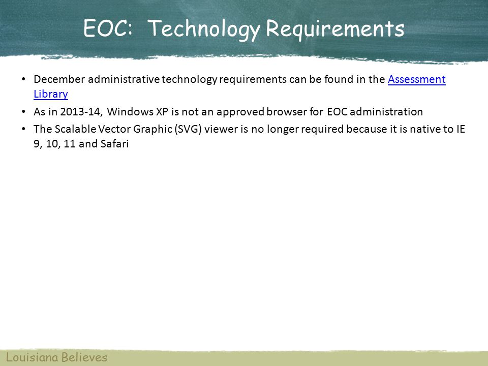 EOC: Issue Resolution 7 Districts should contact assessment@la.gov with administrative issues and policy questions.assessment@la.gov For questions about the EOC Tests system or technical assistance during testing utilize: Pacific Metrics Point of Contact EOC Tests Help Desk: By phone at 1-866-810-1095 from 7:00 a.m.