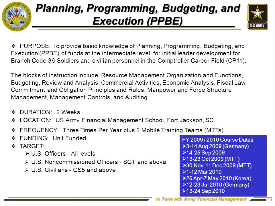 In Tune with Army Financial Management  PURPOSE: To provide basic knowledge of Planning, Programming, Budgeting, and Execution (PPBE) of funds at the intermediate level, for initial leader development for Branch Code 36 Soldiers and civilian personnel in the Comptroller Career Field (CP11).
