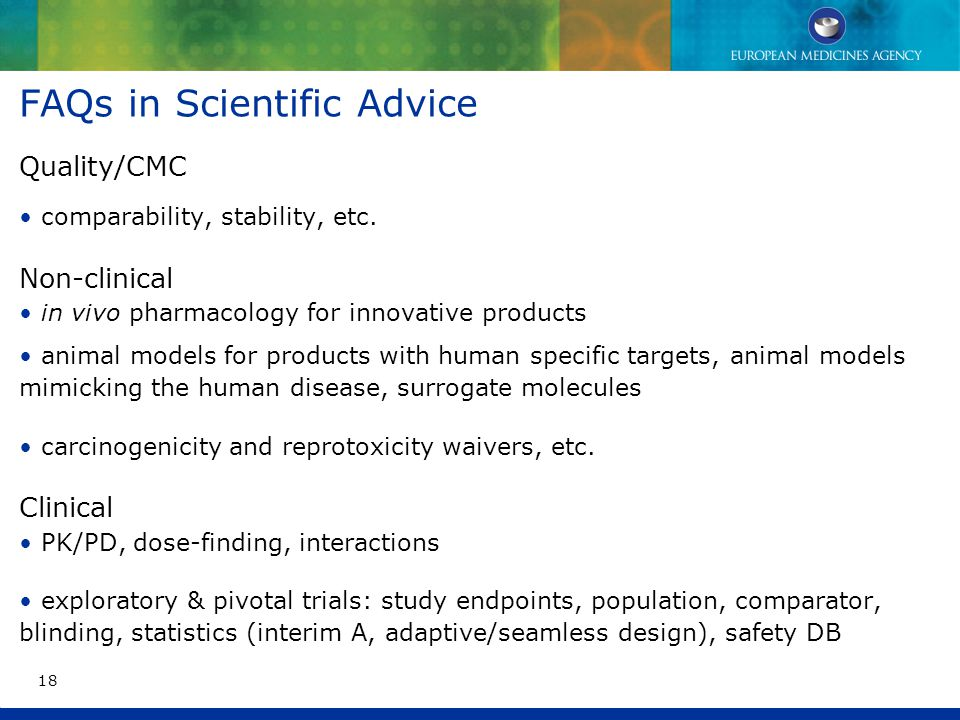 FAQs in Scientific Advice Quality/CMC comparability, stability, etc.