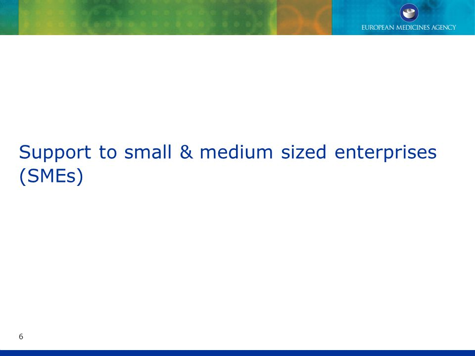 Support to small & medium sized enterprises (SMEs) 6