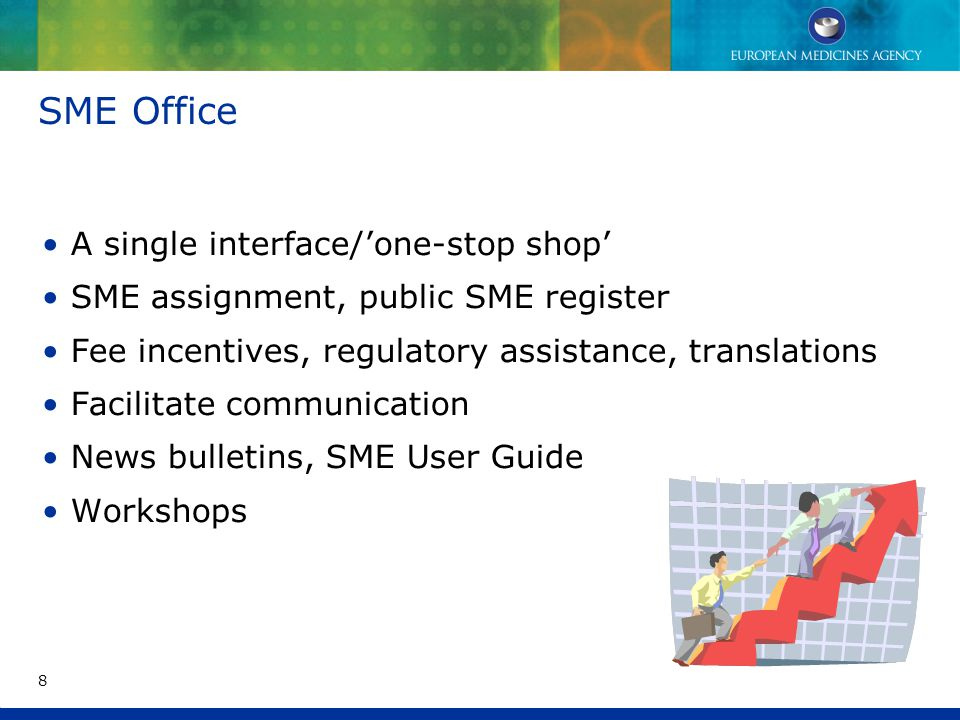 SME Office A single interface/'one-stop shop' SME assignment, public SME register Fee incentives, regulatory assistance, translations Facilitate communication News bulletins, SME User Guide Workshops 8