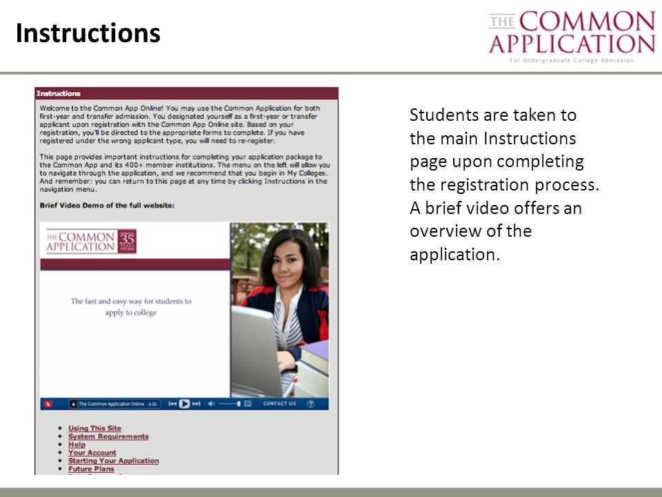 Instructions Students are taken to the main Instructions page upon completing the registration process.