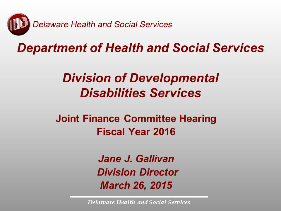 Department of Health and Social Services Division of Developmental Disabilities Services Joint Finance Committee Hearing Fiscal Year 2016 Jane J. Gall