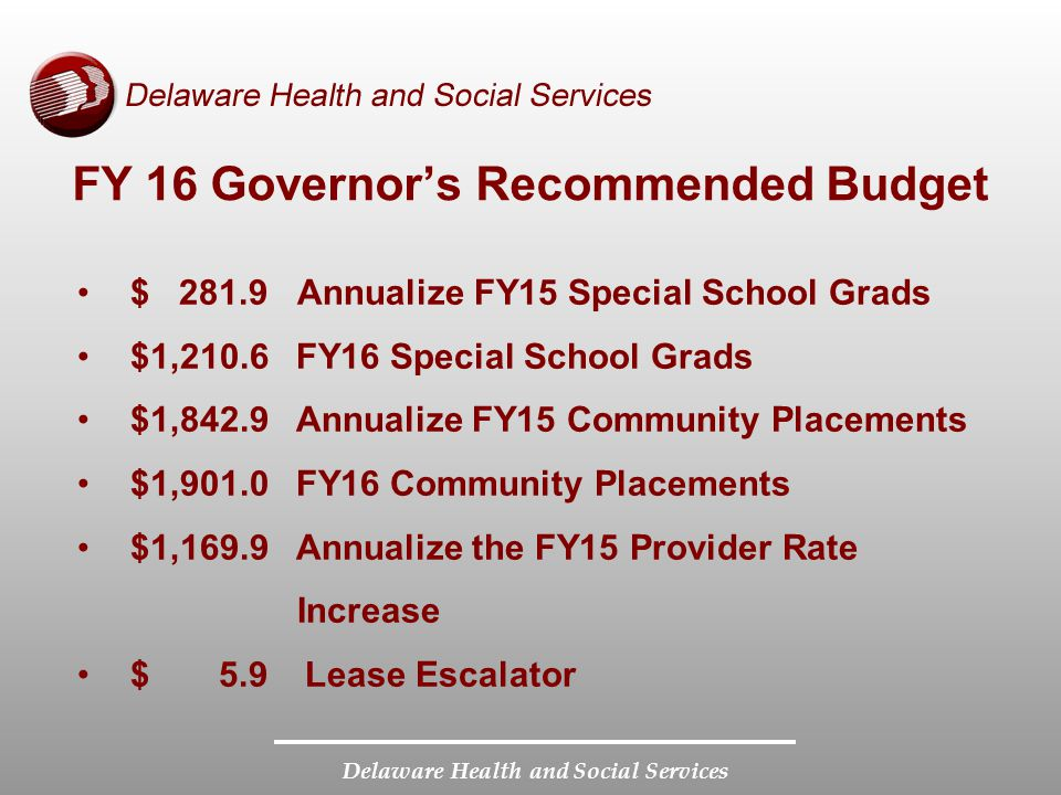 Delaware Health and Social Services FY 16 Governor's Recommended Budget $ 281.9 Annualize FY15 Special School Grads $1,210.6 FY16 Special School Grads