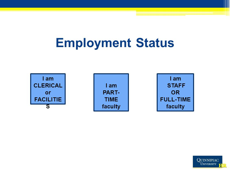 Employment Status I am STAFF OR FULL-TIME faculty I am PART- TIME faculty I am CLERICAL or FACILITIE S