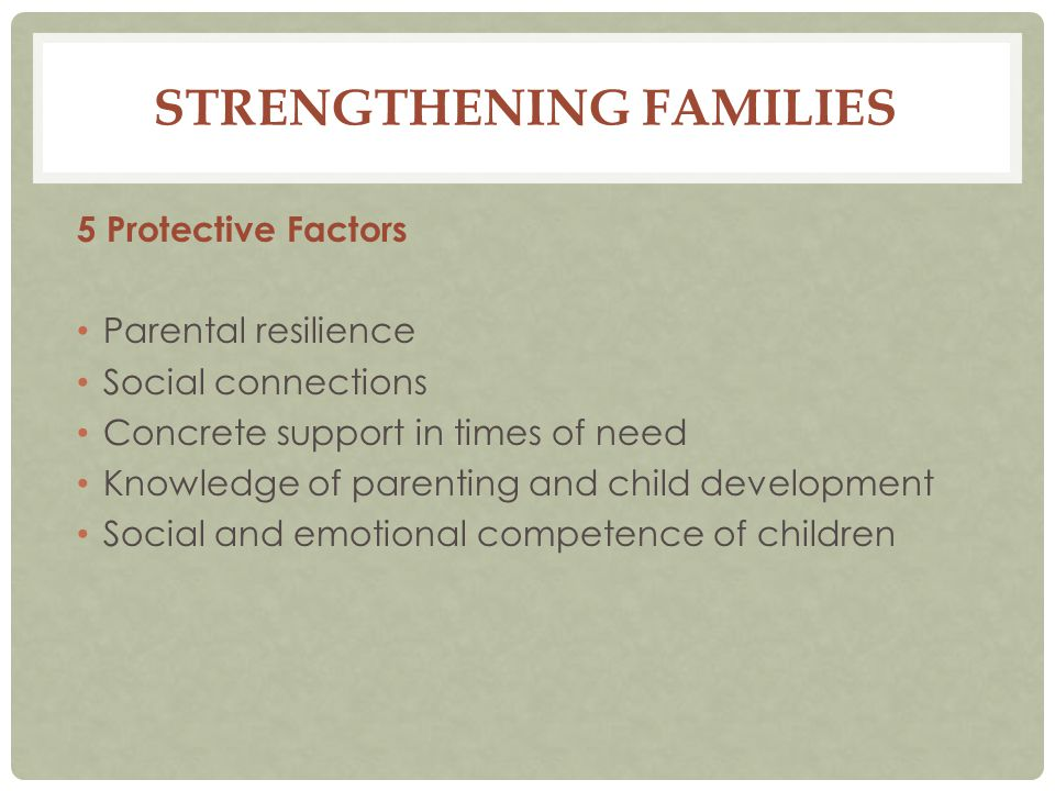 STRENGTHENING FAMILIES 5 Protective Factors Parental resilience Social connections Concrete support in times of need Knowledge of parenting and child development Social and emotional competence of children