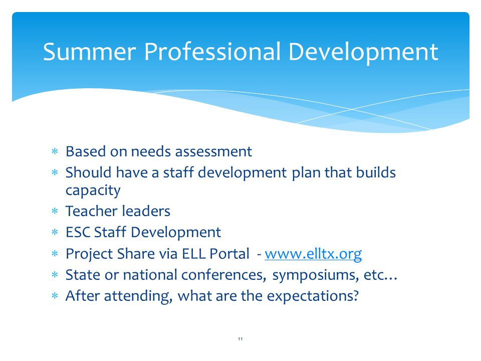  Based on needs assessment  Should have a staff development plan that builds capacity  Teacher leaders  ESC Staff Development  Project Share via ELL Portal - www.elltx.orgwww.elltx.org  State or national conferences, symposiums, etc…  After attending, what are the expectations.