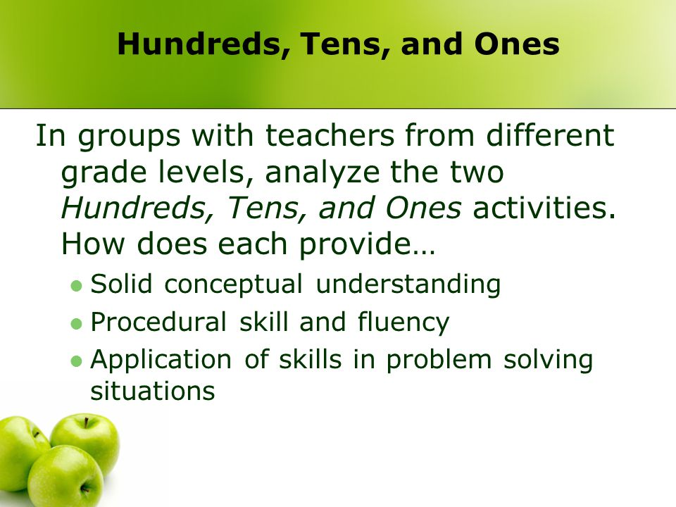 Hundreds, Tens, and Ones In groups with teachers from different grade levels, analyze the two Hundreds, Tens, and Ones activities. How does each provi