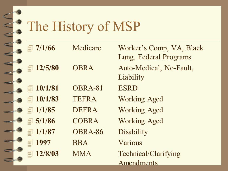 The History of MSP 4 7/1/66MedicareWorker's Comp, VA, Black Lung, Federal Programs 4 12/5/80OBRAAuto-Medical, No-Fault, Liability 4 10/1/81OBRA-81ESRD
