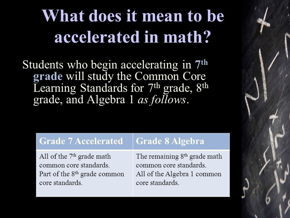 What does it mean to be accelerated in math.