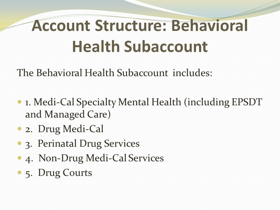 Account Structure: Behavioral Health Subaccount The Behavioral Health Subaccount includes: 1.