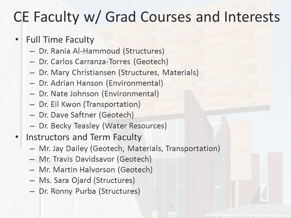 CE Faculty w/ Grad Courses and Interests Full Time Faculty – Dr.