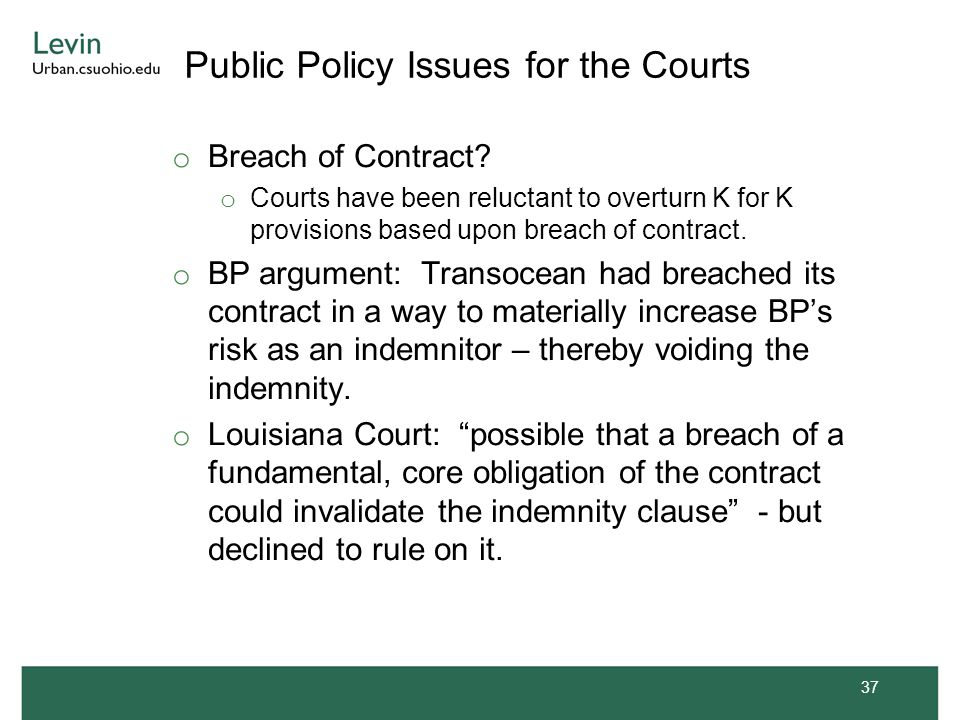Public Policy Issues for the Courts o Breach of Contract.