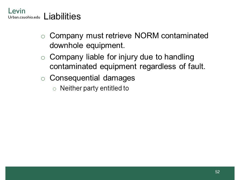 Liabilities o Company must retrieve NORM contaminated downhole equipment. o Company liable for injury due to handling contaminated equipment regardles