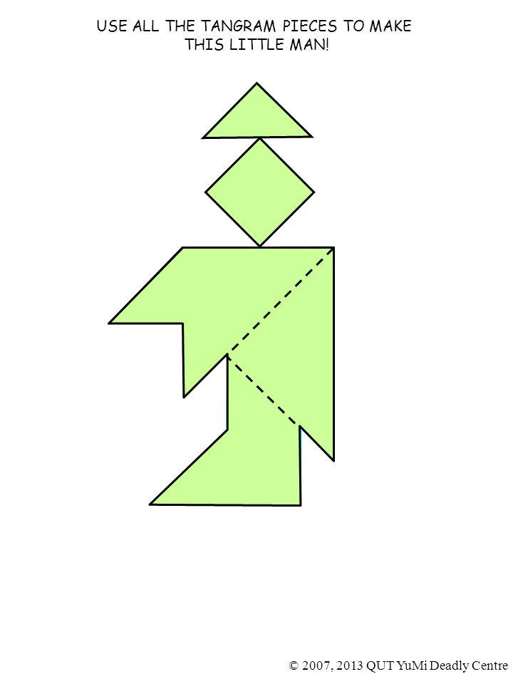 USE ALL THE TANGRAM PIECES TO MAKE THIS LITTLE MAN! 4 5 1 2 © 2007, 2013 QUT YuMi Deadly Centre