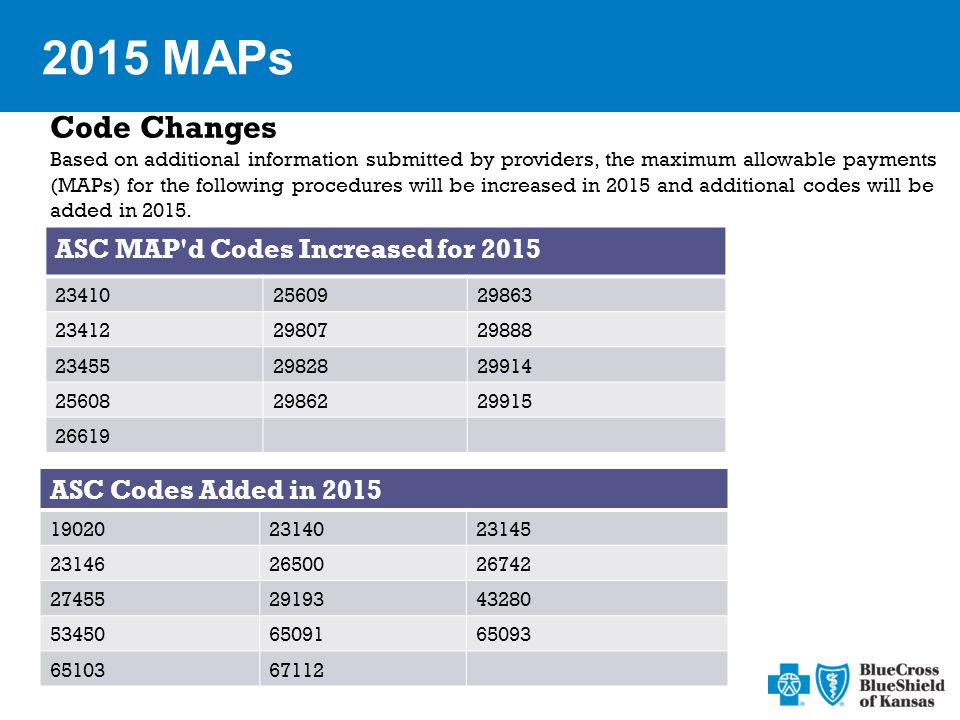 2015 MAPs Code Changes Based on additional information submitted by providers, the maximum allowable payments (MAPs) for the following procedures will be increased in 2015 and additional codes will be added in 2015.