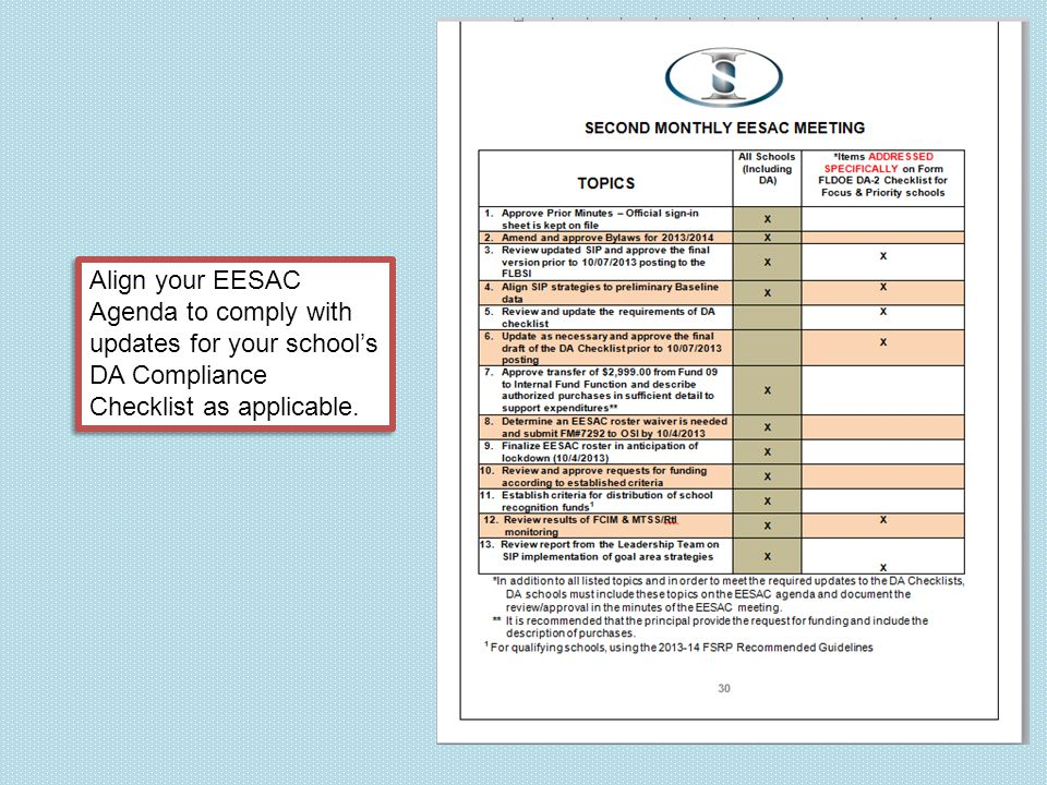 Align your EESAC Agenda to comply with updates for your school's DA Compliance Checklist as applicable.