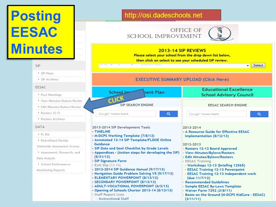http://osi.dadeschools.net Posting EESAC Minutes CLICK