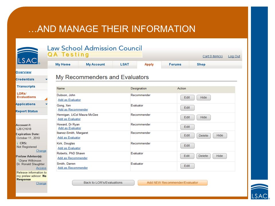 …AND MANAGE THEIR INFORMATION